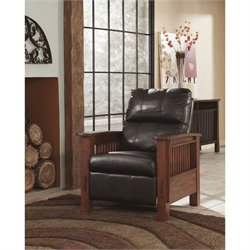 Ashley Furniture Santa Fe High Leg Faux Leather Recliner in Chocolate