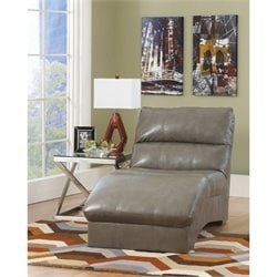 Ashley Furniture Paulie Leather Chaise in Quarry