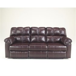 Ashley Furniture Kennard Leather Reclining Sofa in Burgundy