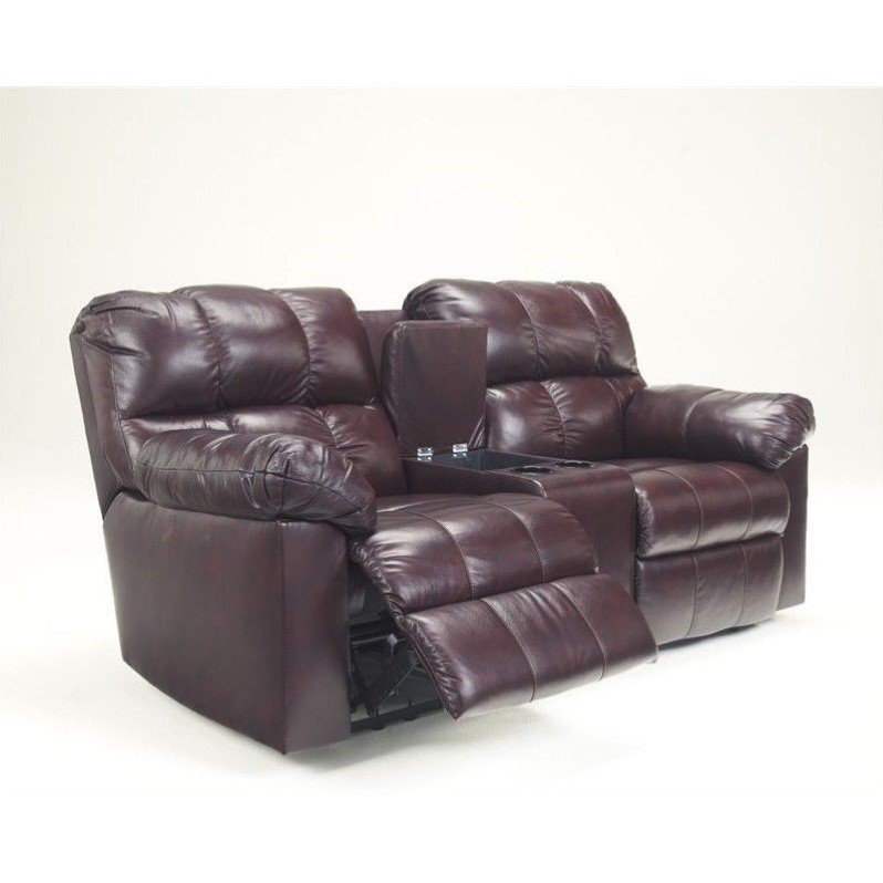 Ashley Furniture Kennard Double Reclining Leather Loveseat In Burgundy 2900094