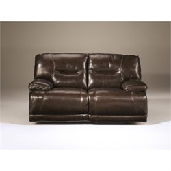 Ashley Furniture Exhilaration Reclining Leather Loveseat in Chocolate