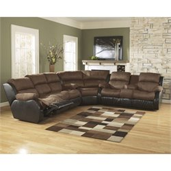 Signature Design by Ashley Furniture Presley 3 Piece Reclining Sectional in Espresso