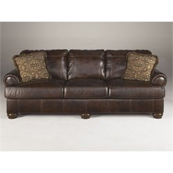 Ashley Furniture Axiom Leather Sofa in Walnut