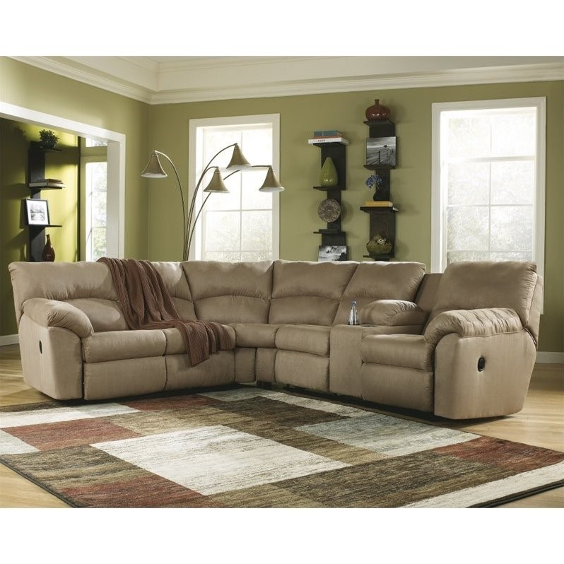 Ashley Furniture Amazon 2 Piece Fabric Reclining Sectional In Mocha 6170048 49 Kit