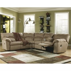 Ashley Furniture Amazon 2 Piece Fabric Reclining Sectional in Mocha