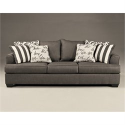Signature Design by Ashley Furniture Levon Microfiber Sofa in Charcoal