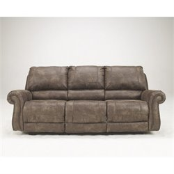 Ashley Furniture Oberson Fabric Reclining Power Sofa in Gunsmoke