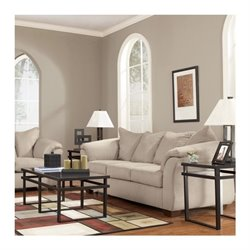 Signature Design by Ashley Furniture Darcy Microfiber Full Sleeper Sofa in Stone