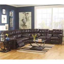 Kennard Leather Reclining Sectional in Chocolate