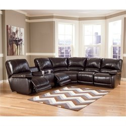 Capote Leather Power Reclining Sectional in Chocolate