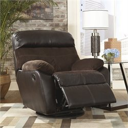 Ashley Furniture Berneen Swivel Rocker Recliner in Coffee