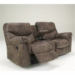 Ashley Furniture Alzena Double Power Reclining Loveseat in Gunsmoke