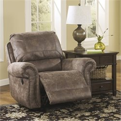 Ashley Furniture Oberson Swivel Glider Recliner in Gunsmoke