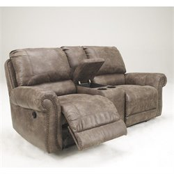 Ashley Furniture Oberson Double Power Reclining Loveseat in Gunsmoke