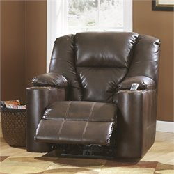 Ashley Furniture Paramount Leather Zero Wall Recliner in Brindle