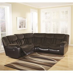 Ashley Furniture Tafton Microfiber Reclining Sectional in Java