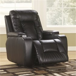 Ashley Furniture Matinee Leather Power Recliner in Eclipse