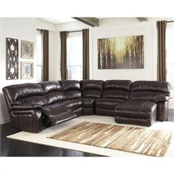 Damacio Leather Reclining Sectional in Dark Brown