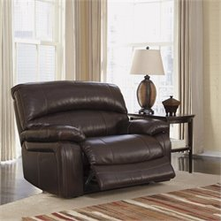 Ashley Furniture Damacio Leather Zero Wall Recliner in Dark Brown