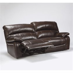 Ashley Furniture Damacio Leather Reclining Sofa in Dark Brown