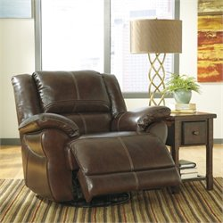 Ashley Furniture Lenoris Leather Swivel Power Recliner in Coffee
