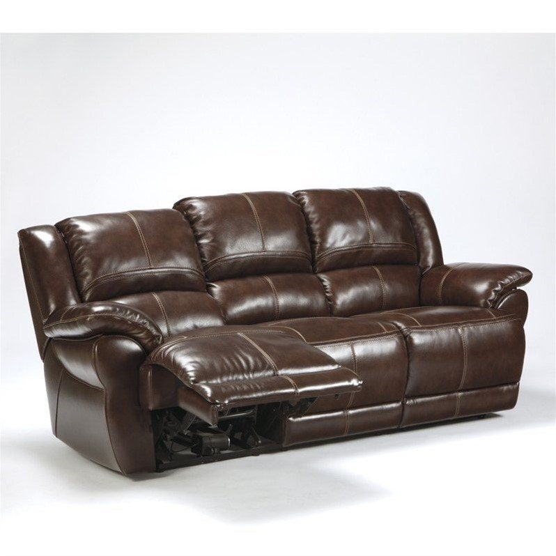 Ashley Furniture Lenoris Leather Power Reclining Sofa in