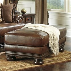 Ashley Furniture Hutcherson Leather Ottoman in Harness