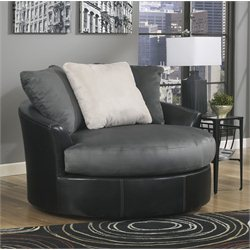 Ashley Masoli Leather Oversized Swivel Accent Chair
