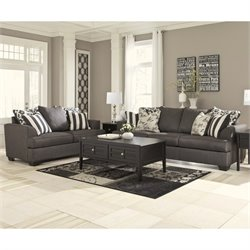 Signature Design by Ashley Furniture Levon 2 Piece Sofa Set in Charcoal