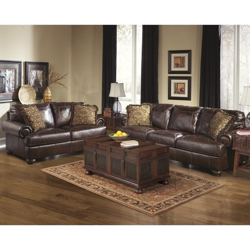 Ashley Furniture Axiom 2 Piece Leather Sofa Set In Walnut 42000 38 35 PKG