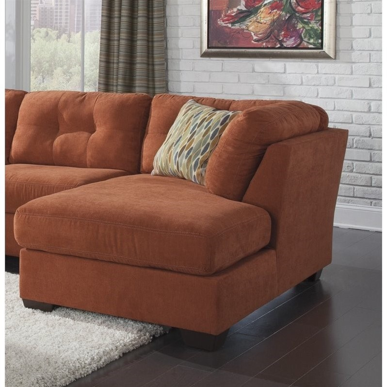 Ashley delta city right arm fabric chaise lounge in rust for Ashley chaise lounge