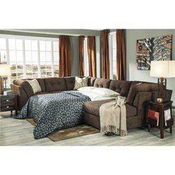 Ashley Delta City 3 Piece Sleeper Sectional in Chocolate