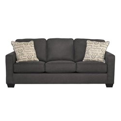Ashley Alenya Microfiber Queen Size Sleeper Sofa in Charcoal