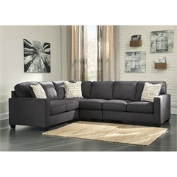 Ashley Alenya Corner Sectional with Armless Chair in Charcoal