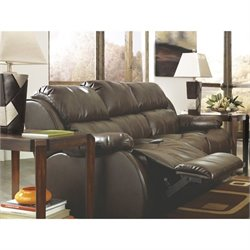 Ashley Mollifield Leather Reclining Sofa with Drop Down Table in Cafe