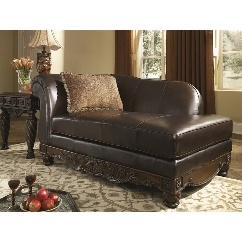 Ashley north shore leather right chaise lounge in dark for Ashley furniture chaise lounge couch