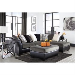 Armant Chaise Sectional with Ottoman in Ebony