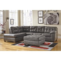 Ashley Alliston Chaise Sectional with Ottoman in Gray