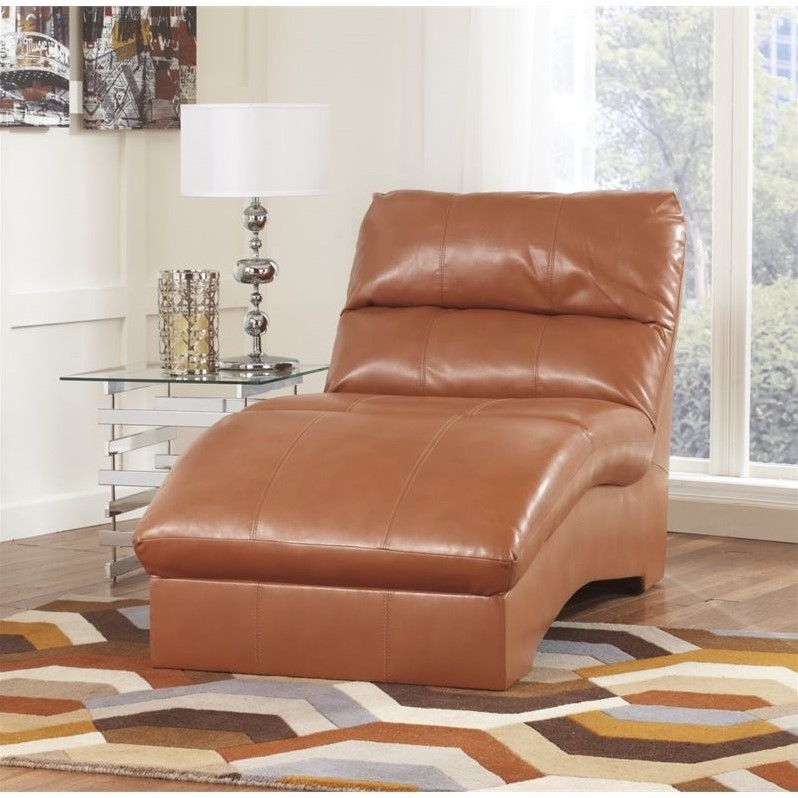 Ashley Paulie Leather Chaise Lounge In Orange 2700215
