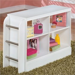 Ashley Lulu 4 Openy Cubby Ladder Wood Loft Bookcase in White
