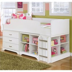 Lulu Wood Twin Loft Bed in White
