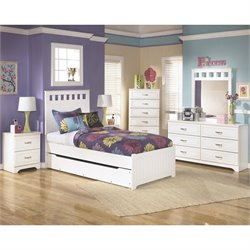 Ashley Lulu Wood Twin Panel Bedroom Set in White