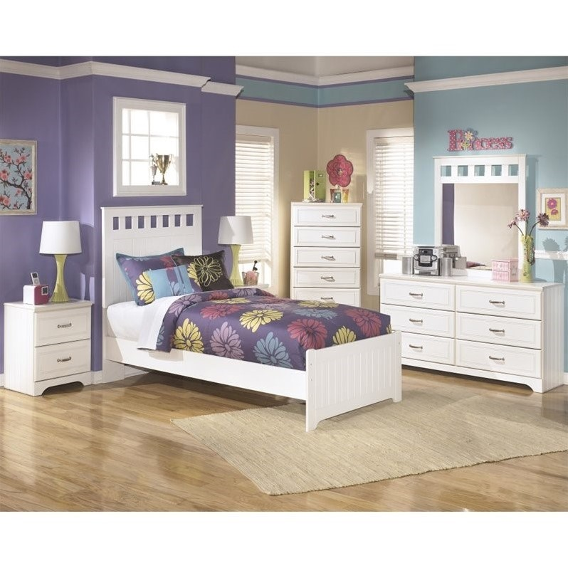 Ashley Lulu 6 Piece Wood Twin Panel Bedroom Set in White
