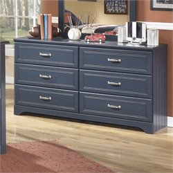 Ashley Leo 6 Drawer Wood Double Dresser in Blue
