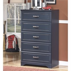 Ashley Leo Wood 5 Drawer Chest in Blue