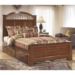 Fairbrooks Estates Wood Poster Panel Bed in Brown
