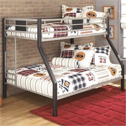 Ashley Dinsmore Metal Twin over Full Bunk Bed in Black and Gray