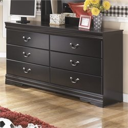 Ashley Huey Vineyards 6 Drawer Wood Double Dresser in Black