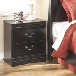 Ashley Huey Vineyards 2 Drawer Wood Nightstand in Black