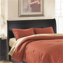 Ashley Huey Vineyards Wood Sleigh Headboard in Black